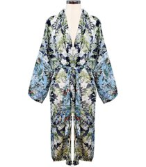 marcus adler color block floral kimono