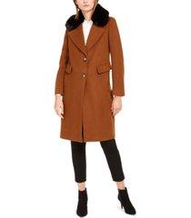 calvin klein petite single-breasted faux-fur walker coat