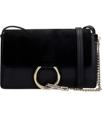 chloé faye small shoulder bag in black suede and leather