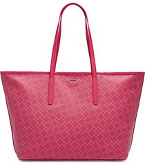 everyday diamond-print leather-trim canvas tote