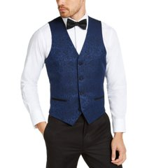 alfani men's slim-fit blue paisley vest, created for macy's