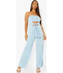 strapless wide leg jumpsuit met uitsnijding en ceintuur, light blue