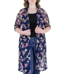 plus size sheer floral knee length cardigan
