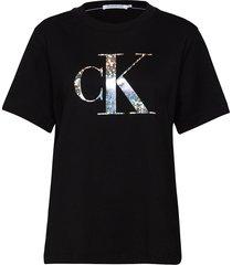 plus iridescent metallic tee t-shirts & tops short-sleeved svart calvin klein jeans