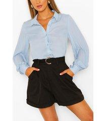 pleated balloon sleeve woven shirt, blue
