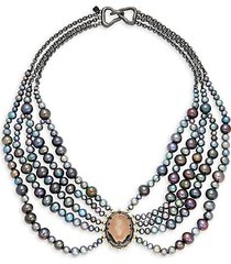 10k gunmetal-plated, 10k goldplated, crystal & faux pearl bib necklace