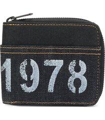 diesel denim stencil zip wallet - blue