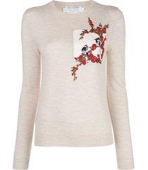 oscar de la renta embroidered lightweight pullover - neutrals