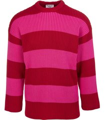 balenciaga unisex pink and red striped crewneck pullover