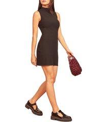 women's reformation rib sleeveless mock neck sweater dress, size x-large - black