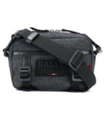 bally bolsa tiracolo com patch de logo - preto