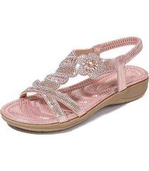 sandalias rhinestone estampadas para mujer-rosa
