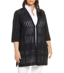 plus size women's ming wang three quarter sleeve knit jacket