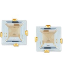 aquamarine square stud earrings (1 ct. t.w.) in 14k gold
