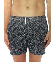 bertigo men's print swim shorts - black - size xl