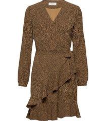 atlas print dress jurk knielengte bruin modström