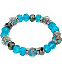 2028 silver tone aqua pink flower crystal stretch beaded bracelet