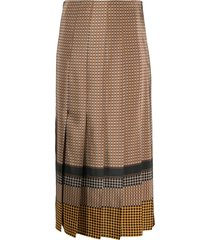 joseph saria plaid pleated skirt - brown