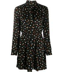 saint laurent geometric-print silk dress