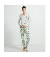 pijama manga longa estampa esquilo com bolso | lov | cinza médio | g