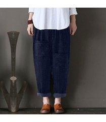 zanzea mujeres elásticos de la cintura harem pantalones casual piernas muy holgado pantalón azul de gran tamaño -azul