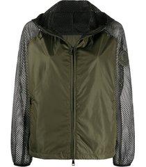 moncler jaqueta com tela e zíper - verde
