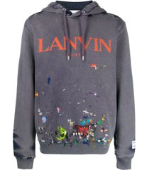 lanvin logo-print paint splatter-effect hoodie