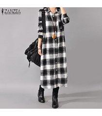 zanzea otoño retro cuadros de manga larga da vuelta-abajo al collar botones en las mujeres de largo la camisa del tamaño vestido de algodón de lino vestido plus negro -negro