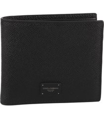 dolce & gabbana black hammered leather wallet