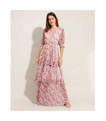 vestido de tule estampado floral em camadas com botões longo manga bufante mindset multicor