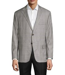 check wool suit jacket