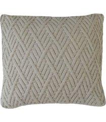 capa almofada tricot 40x40cm / 45x45cm c/zãper sofa trico cod 1025 bege - bege - feminino - dafiti