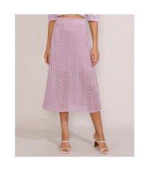 saia de tricô feminina midi lilás