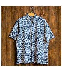 men's batik cotton shirt, 'jepara sky' (indonesia)