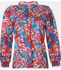camicetta casual da donna con colletto alla coreana manica lunga stampa calico