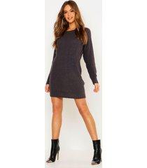 soft knit sweater dress, charcoal