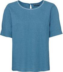 geraffineerd blouseshirt van hennep-/katoenmix met ronde hals, waterblauw l
