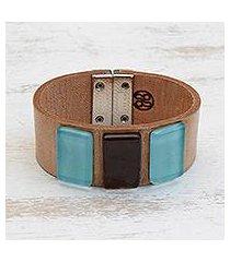 glass and leather wristband bracelet, 'blue distance' (brazil)