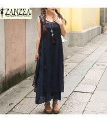 zanzea vestido de verano de moda para mujer vestidos largos largos vestido de seda de rayón suelto sin mangas vestidos tallas grandes s-5xl (azul marino) -azul