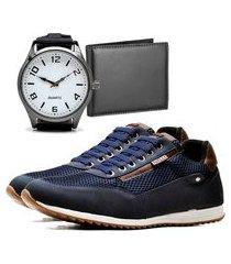sapatênis urbano com carteira e relógio new dubuy 1100db azul