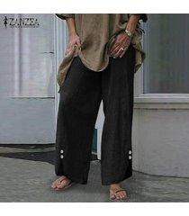 zanzea mujeres de primavera y verano flojo holgados pantalones pantalones de pierna ancha de las señoras culottes -negro