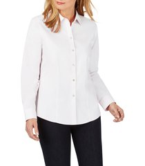 women's foxcroft dianna non-iron cotton shirt, size 4 - white