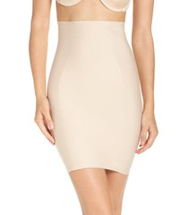 women's yummie high waist smoother skirt slip, size large - brown