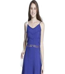 vestido bon liso azul