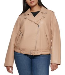 levi's plus size faux leather belted motorcycle jacket