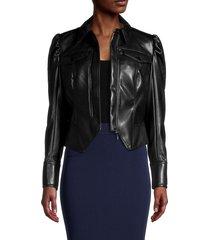 jonathan simkhai women's wyatt faux leather moto jacket - black - size xl