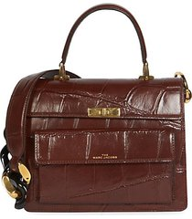 the uptown croc-embossed leather satchel