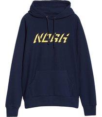 men's noah logo raglan fleece hoodie, size x-large - blue
