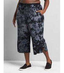 lane bryant women's livi wide-leg capri - tie-dye 14/16 black