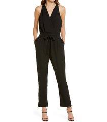 women's lulus in the city surplice jumpsuit, size x-small - black